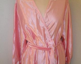 Vintage Anne Leslie Dressing Gown Pink Satin Robe Size Large Satinglow