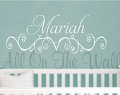 Wall Decal Baby Girl Name Nursery Shabby Chic Decals Scroll Vinyl Lettering Children Kids