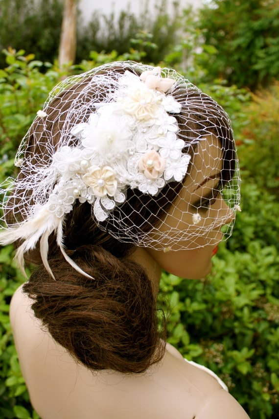"CUSTOM Floral and Pearl Headpiece Cage Veil ""Amanda"", Vintage Floral Lace Headdress by Vegas Veils"