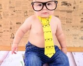 Baby Boy Tie Photo Prop Birthday Cake Smash Neck Tie First Birthday Sizes Newborn-2T Geeky Black Glasses on Bright Yellow Chic Modern