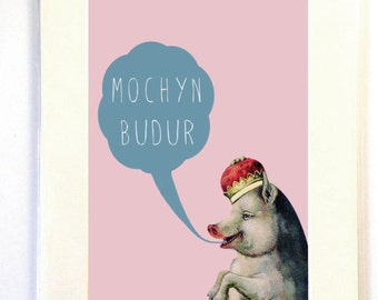 Welsh Mochyn Budur Dirty Pig Speech Bubble Digital Art Print A4  Mounted