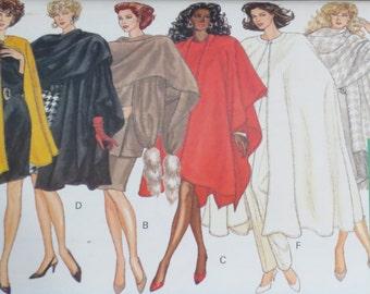 Uncut Vintage Cape Stole Wrap Pattern Bust 38-44 Butterick 6854 FF 80s XL Plus