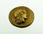 Ancient Greek Coin Paperweight, Bronze Paperweight, Goddess of Wisdom Athena and Owl, Museum Quality Art, Greek History, Desk Top Decor