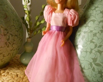 Vintage Skipper Doll from Mattel's Barbie Line in Pink Ball-Gown 1970s Made in Hong Kong