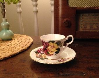 Vintage Royal Windsor Demitasse Teacup and Saucer in Bone China Made in England