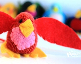 THUMBKIN LOVEbird  from repurposed gloves Red with pink heart