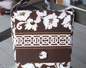 Brown and White Purse Bag with Flap and Long Strap