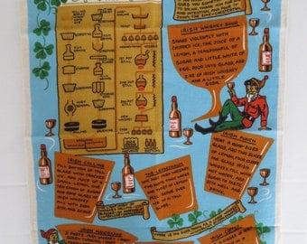 Vintage Linen Towel, Irish Whiskey, Ireland Towel, Screen Print, Tea Towel, Retro Towel,, Leprechans, Shamrocks, St Patricks Day, Unused