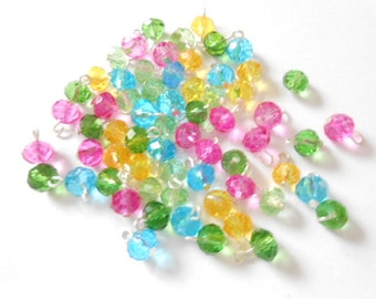 Spring Color Faceted Rondelle Dangle Beads