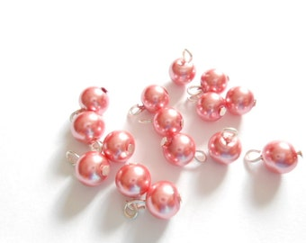 Dark Rose Glass Pearl Dangle Beads