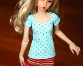 Minifee Narae Turquoise Top With  Red Spots For Slim MSD BJD