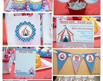 Circus Birthday Party Mini Package...Custom, Printable DIY Package