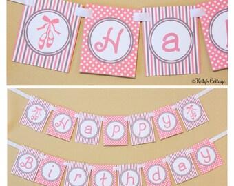 Ballerina Birthday Banner, Instant Download, Printable, Digital