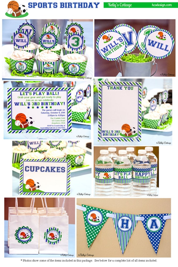 Items similar to Sports Birthday Party Package...Custom ...