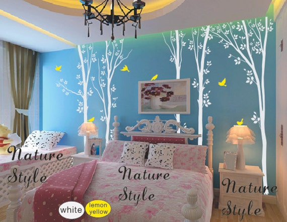 nursery wall decals tree birds decal nature forest Vinyl wall decals baby boy nursery wall mural sticker children-5 Trees with Flying Birds