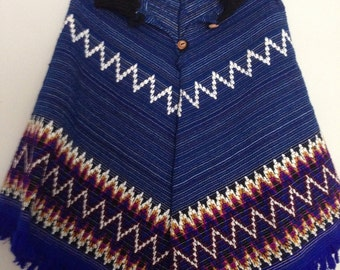 Vintage Handwoven Mexican Textiles Poncho OSFA folk