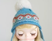 Miss yo hand-knitted Pattern Hat for Blythe doll - doll outfit - Blue