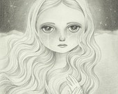 Gothic Art, Original Pencil Drawing, Fantasy Art, Original Illustration - Lady of the Moon by Amalia K