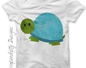 Iron on Turtle Shirt PDF - Toddler Iron on Transfer / Boys Turtle Birthday Party / Baby Shower Gift / Blue Turtle Tshirt / Digital IT314