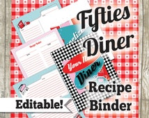 Recipe Binder Printables, Recipe Organizer, Recipe Dividers,  Fill In by Hand or Type In on computer, EDITABLE, 1950s Diner Retro