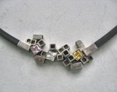 Square - geometric silver and black rubber - silver and quarts stones - square necklace - Inspiration jewelry - Statement necklace -
