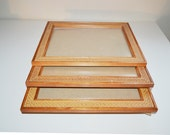 Vintage Wood Picture Frame Wicker Rattan Picture Frame with Glass Insert Wall Hanging Frame Wall Hanging Wood Frame