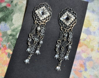 1920's   Dangle Earrings w/ Rhinestones - costume jewlery