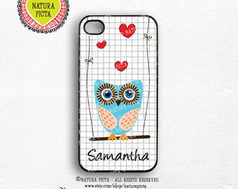 Personalized  owl with your name iPhone 6-iPhone 6 Plus-owl iPhone 5/5S-owl S4-owl S5-owl iPad case-owl galaxy note-by Natura Picta-NP023