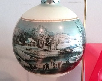 Vintage Currier and Ives Glass Ornament AMERICAN WINTER SCENE Morning 1973 with Original Box