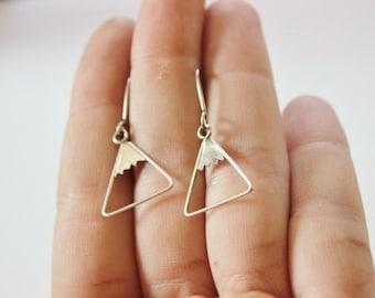 SALE Vintage Sterling Silver Modern Abstract Triangle Pierced Dangle Earrings