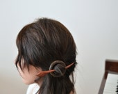 shawl pin hair pin hair barrette wenge wood and pink ivory wood combination