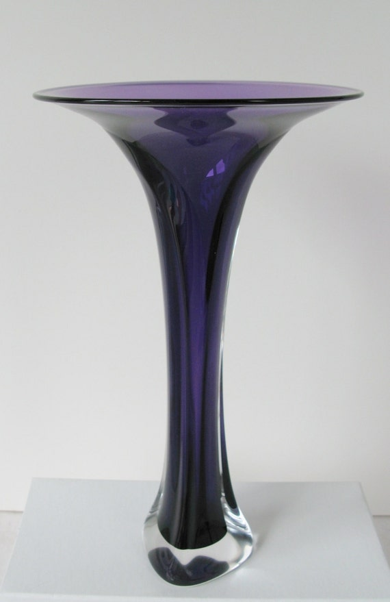 Hand Blown Glass Vase - Violet Fluted Bud Vase by Jonathan Winfisky