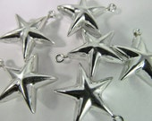 15 Vintage 20mm Silver Puffy Star Charms Drops Pendants Pd660