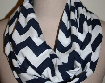 "Chevron Infinity Scarf -Navy and White 9"" x 64""-New longer size"