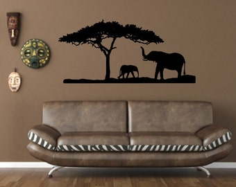 Animal Decal African Decal Vinyl Wall Decal African - Wall decals animalsafrican savannah wall sticker decoration great trees with