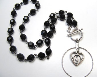 Religious Handmade Black Crystal Bead Toggle Clasp Necklace Virgin Mary Heart