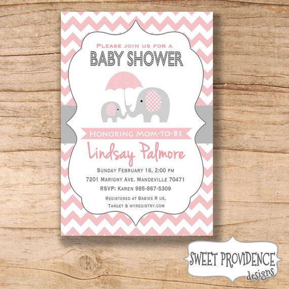 elephant baby shower invitation pink grey elephant baby