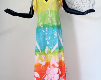 Butterfield 8 Gown Vintage 1960s 60s Hippie MOd Maxi Dress 1970s 70s Beach Pool Swimsuit Cover Up Coverup Colorful Rainbow Ombre Stripe M