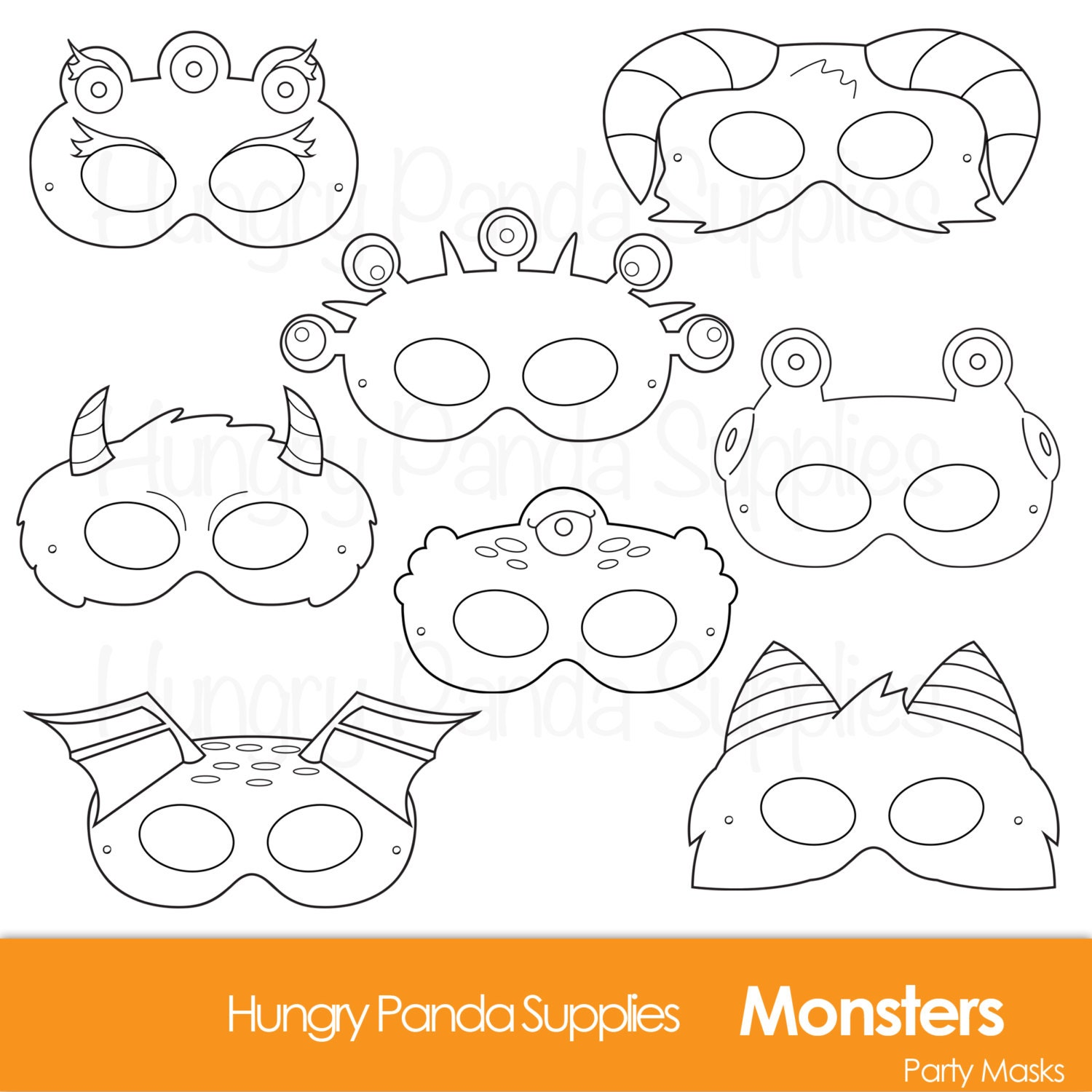 It is a photo of Witty Halloween Mask Printables