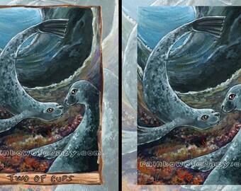 Cute Seal Animal Print, Large Wall Art, Two of Cups Tarot Card, Ocean Decor, Animal Lover Gift, I Love You, Animism Tarot Deck