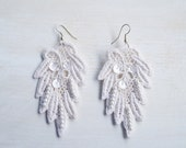 White Lace Statement Earrings with Beads and Sequins