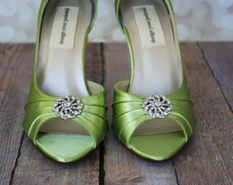 Green Wedding Shoes, High Heel Wedding Shoes, Peeptoe Wedding Shoes, Spring Green Bridal Heels, Green Wedding Accessories, Budget Wedding