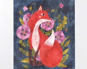 Fox and Flora - 8x10 art print