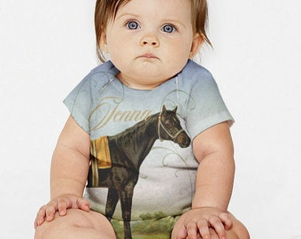 Personalized Baby Horse Shirt,  Girls Equestrian Outfit, Infant Horse Snapshirt T-shirt