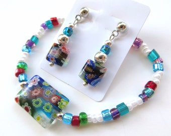 NATIVE GARDEN- Beaded Stretch Bracelet and Earrings Set- Millefiore Beads, Silver Spacers, and Post Style Earrings