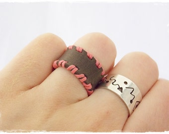Boho Tribe Ring, Wiccan Irish Ring, Coral Celtic Ring, Elven Leather Ring, Woodland Leather Band, Nordic Leather Ring, Tribal Leather Ring