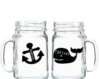 Nautical Whale and Anchor Chalkboard Vinyl Labels -set of 25 labels - Birthday Party, Playroom, Nautical, Favor - FREE CHALK MARKER