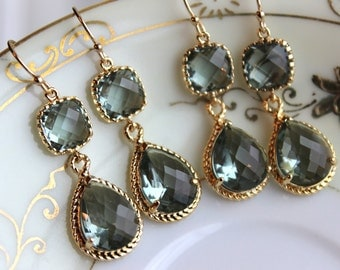 15% Off Set of 5 Wedding Jewelry Gray Grey Bridesmaid Earrings Bridal Bridesmaid Jewelry Two Tier Charcoal Gray Earrings Gold Teardrop