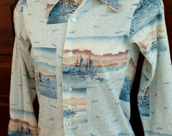 Vintage Button Up Ocean Theme Shirt
