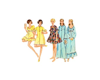 Misses' Baby Doll Nightgowns Vintage Sewing Pattern